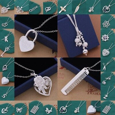 Christmas Gift Jewelry Solid Sterling Silver Pendant Necklace Chain R925 On Sale