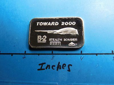B-2 Stealth Bomber 2000 Crown Mint Very Rare 999 Silver Bar Very Cool Item