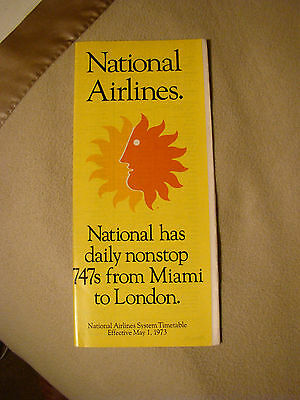 National Airlines - System Timetable - May 1, 1973
