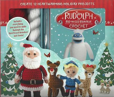 Rudolph Red Nose Reindeer Crochet Kit 12 Projects Book Hook Yarns Stuffing Eyes
