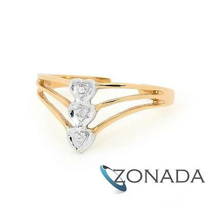 New 3 Hearts Diamond 9ct 9k Solid Yellow Gold Toe Ring 24087
