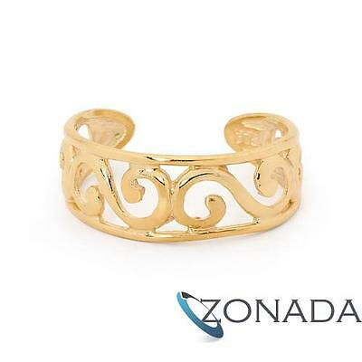 New Plain 9ct 9k Solid Yellow Gold Toe Ring with waves 43753