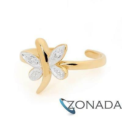 DRAGONFLY Diamond 9ct 9k Solid Yellow Gold Toe Ring 25003