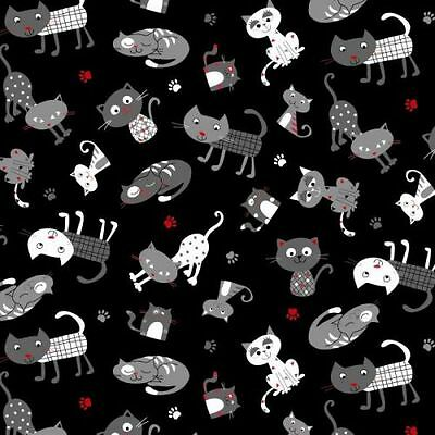 CATTERY BLACK AND WHITE CATS CRAFT NOVELTY QUILT SEWING FABRIC *Free Oz Post