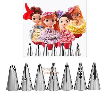 7 X Russian Nozzle Piping Tip DIY Pastry Wedding Cake Sugarcraft Decorating Tool
