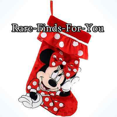 "Disney Parks Minnie Mouse Christmas Plush Stocking 20"" (NEW) Princess Mickey"