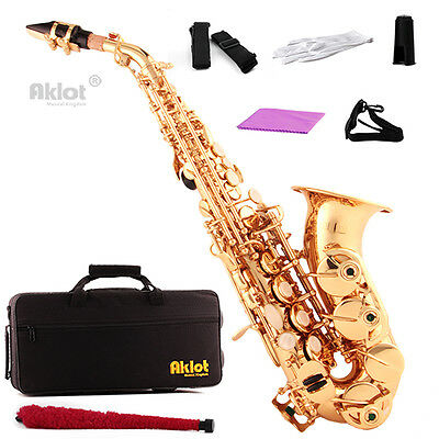 Aklot Bb Curved Soprano Saxophone Sax Gold Lacquered Brass Body with Case