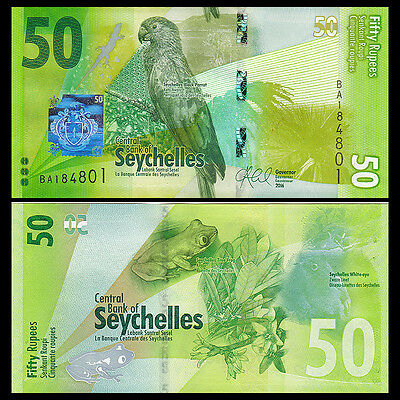 Seychelles 50 Rupees, 2016, P-NEW, NEW DESIGN, Bird, UNC