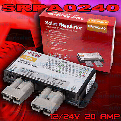 Redarc 20 Amp 20A Solar Panel Charge Regulator Controller Anderson Plug 12V