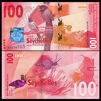 Seychelles 100 Rupees, 2016, P-NEW, NEW DESIGN, Bird, UNC