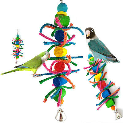 Pet Bird Colorful Toy Parrot Rope Harness Hang Toys Parakeet Cockatiel Budgie