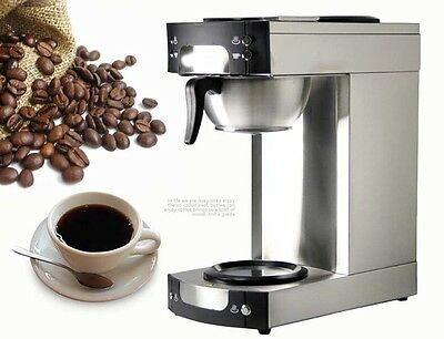 New Silvery Capacity 12 Cup Stainless Steel Drip Filter Coffee Maker *