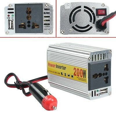 Universal 200W DC to AC Power Inverter for Car Laptop PC Camera USB Charger