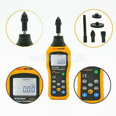 MS6208A Digital Contact Tachometer Wind Speed RPM Meter Air Flow Anemometer