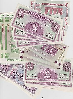35 x MINT CONDITION MILITARY ARMED FORCES BANKNOTES SOME CONSECUTIVE RUNS