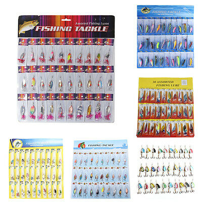 Lot 30pcs Assorted Fishing Lures Spoon Crankbait Minnow Spinner Bait Tackle Hook