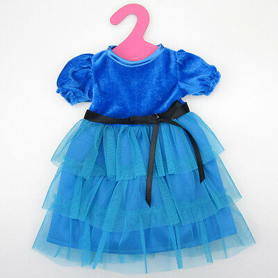 Blue Clothes Dress For 18 Inch American Girl Doll Handmade Set Party Tackle