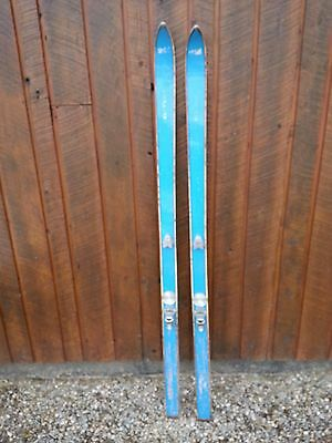 """VINTAGE Wooden 65"""" Skis with Bindings Has OLD Great Blue Finish"""