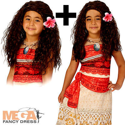 Moana + Wig Girls Fancy Dress Disney Hawaiian Book Day Kids Child Costume Outfit