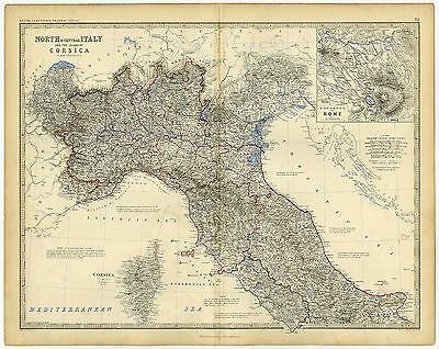 Antique Print-NORTHERN ITALY-CORSICA-ROME-Johnston-c.1860
