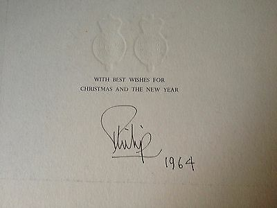 Prince Philip - Duke Of Edinburgh - Excellent Signed Christmas / New Year Card