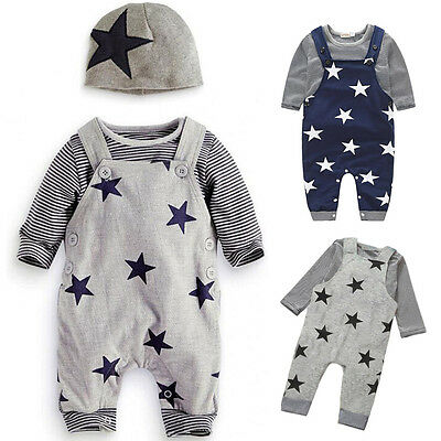 Baby Boy Toddler Kids Striped T-shirt Top+Bib Pants Overalls Outfit Clothing Set