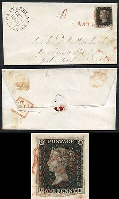Penny Black (LB) Plate 8 Cover from Castleblakeney (Population 173)LATE MAIL Pmk