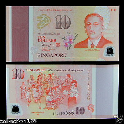 Singapore Commemorative Polymer 10 Dollars 2015 UNC, Opportunities For All