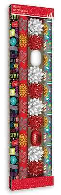 6m Assorted Christmas Gift Wrap Set Bow Wrapping Paper Vibrant Decorations