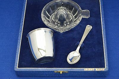 Art Deco French Solid Silver Cocktail / Drinks Set - Christening/Baptism Baby