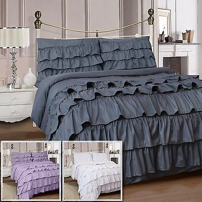 Soft Luxury 4Pc Ruffles Complete Duvet Cover Set With Fitted Sheet & Pillowcase