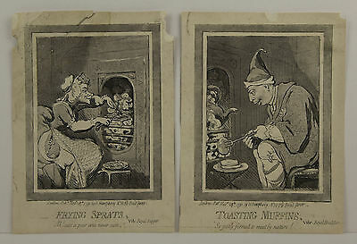 Pair Antique Prints After Gillray - Frying Sprats & Toasting Muffins