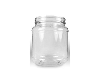 6 64 oz Clear Plastic Wide Mouth 1/2 Gallon Jars White Shatter Proof Lids Caps