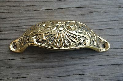 Solid brass Victorian cup drawer handle dresser draw pull handle c/w screws 2003