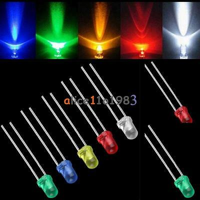 100/500/1000PCS 3mm White Green Red Blue Yellow LED Light Bulb Emitting Diode