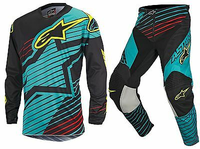 New Kids Youth 24 M Alpinestars Racer Braap Teal Black Jersey Pant Kit Motocross