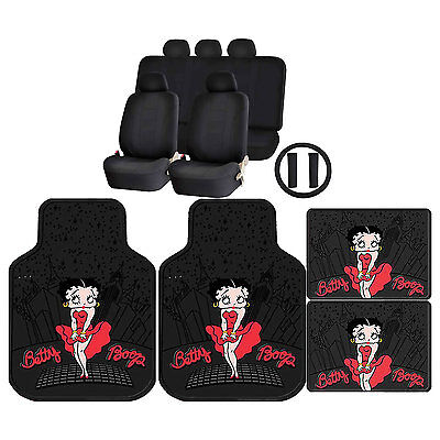 15PC Betty Boop Skyline Front Rear Rubber Floor Mats & U.A.A. Inc. Racing Style
