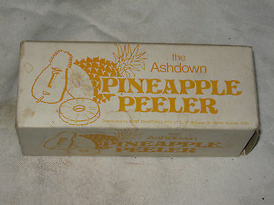 Boxed Vintage 70's Retro Yellow Plastic Ashdown Pineapple Peeler & Instructions