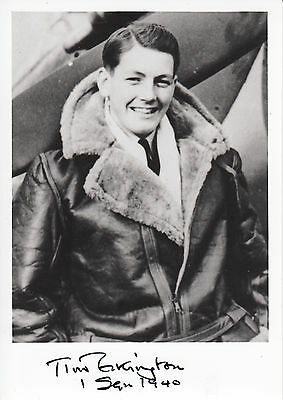 SPMF05 WWII BoB RAF Battle of Britain pilot TIM ELKINGTON hand signed photo