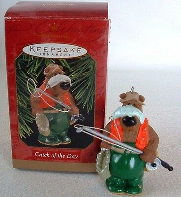 BEAR FISHERMAN Tree ORNAMENT Catch of the Day FISHING ROD Fish Basket HALLMARK