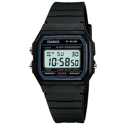 Casio F-91W-1XY Mens Retro Collection Black Chronograph Watch RRP £17.5