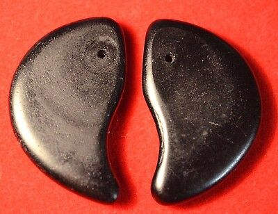 Antique Czech Molded Black Glass Lion Claw Tabular Wedding Beads, African Trade