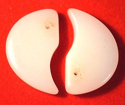 Antique Czech Molded White Glass Lion Claw Tabular Wedding Beads, African Trade