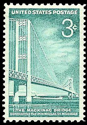 US Postage PHOTO MAGNET Reproduction Mackinac Bridge Michigan 1958 three cents