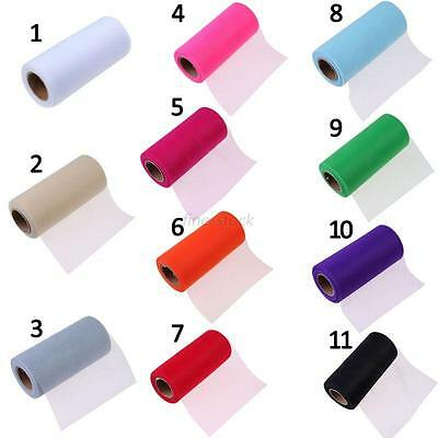 "6""x25cm Yards Colorful Tutu Tulle Roll Spool Wrap Craft Bow Wedding Party Decor"