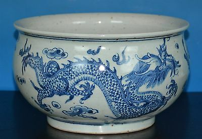 Fine Antique Chinese Blue And White Porcelain Brush Washer Rare W0257