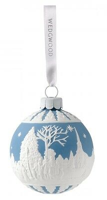 Wedgwood Carol Service Bauble Blue Porcelain Christmas Ornament Carolers New