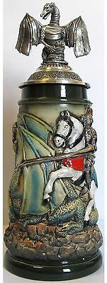Rustic Medieval Knight Fighting Dragon with Dragon Lid LE German Beer Stein .5 L