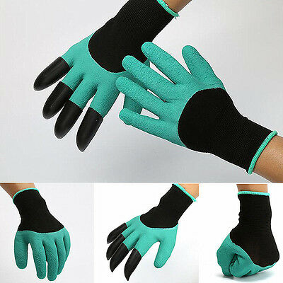 1 Pair Rubber Polyester Builders Garden Work Latex Gloves 4 ABS Plastic Claws
