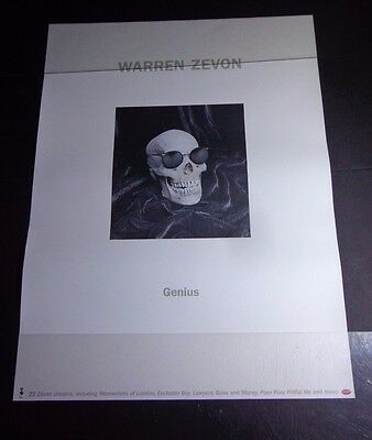 "XX  WARREN ZEVON GENIUS skull -poster promotional -18x 24"" Rhino Record co."